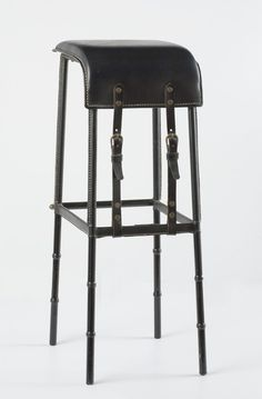 Available for sale from Maison Gerard, Jacques Adnet, Pair of Bar Stools (ca. Leather, 33 × 13 × 12 in Bar Furniture For Sale, Furniture Design, Furniture Ideas, Dinning Chairs, Bar Chairs, Interior Design Living Room, Interior Decorating, Home Bar Areas, Resource Furniture