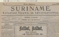 Suriname koloniaal nieuws- en advertentieblad 1871- 1971. Uit de archieven van de Koninklijke Bibliotheek. Van de 34 geselecteerde Surinaamse kranten is het 'Koloniaal Nieuwsblad Suriname' per direct online te raadplegen. 100 jaar aan krantenmateriaal online! Zie kranten.kb.nl.
