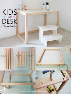 Learn how to make this simple kids coloring desk, easily built in about an hour! You get to be super mom or super dad and it won't take up your entire day! kids desk Simple Kids Coloring Desk - Home Made By Carmona Bureau Simple, Simple Desk, Retro Furniture, Furniture Projects, Furniture Stores, Diy Kids Furniture, Furniture Movers, Furniture Outlet, Cheap Furniture