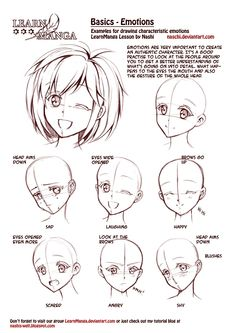 Learn Manga: emotions by *Naschi. How to draw manga face, girl face, cute kawaii drawing tutorial, how to manga draw eyes expressions, manga, anime, tutorial (900x1273)