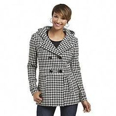8fce88f4924 Women s Hooded Peacoat - Houndstooth - Sears size M