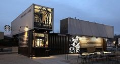 Starbucks's new prototype retail store in Tukwilla, Washington, known as The Reclamation Drive-Thru, is a 450-sq-ft drive-thru and walk-up store built from four refurbished shipping containers