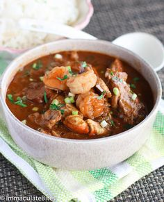 Gumbo Stew - A rich and flavorful gumbo loaded with chicken, sausage, shrimp and crab legs. Easy to make with step-by-step pictorial.