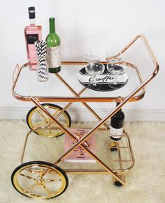 Brass Bar Cart Drink Trolley Glass Trays Hollywood by BarCartCo