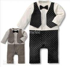 Baby Boy James Bond Suspender Cotton Gentleman Texedo pageboy Romper Outfit 2-3Y