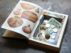 A hollowed-out book conceals small valuables and trinkets.