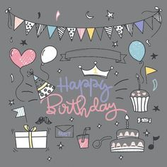 """Carte de Voeux Dématérialisée """"Happy Birthday"""" Messages, Happy Birthday, Stickers, Parfait, Key, Greeting Card, Gift, Cards, Happy Brithday"""