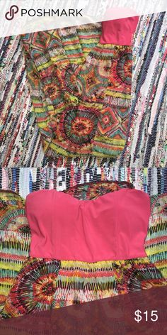 """Maxi Dress No tag in dress except for one with brand on it -- I normally wear a size small and it still fits -- the bottom in shear with two slits in the front. there is a """"slip"""" underneath that is about 2-2.5 feet starting at the bottom of the pink top. Deb Dresses Maxi"""