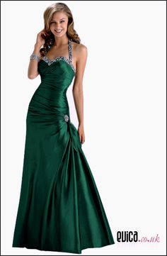 Halter Neck Green Evening Gown
