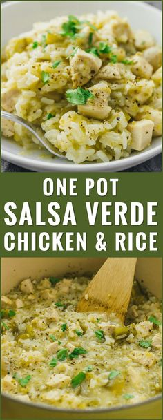 Try this quick and easy recipe for salsa verde chicken and rice -- just 6 ingredients and 1 pot needed. healthy, creamy, soup, skillet, low carb, skinnytaste, whole 30, thighs, paleo, oven, sides, honey lime, delish, bowl, weight watchers, trader joes, ideas, homemade, 21 day fix, meals, instapot, dishes, 4 ingredient, shredded, dinner, quick, keto, pozole, green, six sisters, tasty, stove top, iowa girl eats, clean, comfort foods, simple, families, weeknight meals, cilantro...