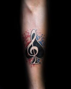 Spade Music Note Mens Tattoo With White Ink