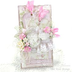 "Today I am sharing this feminine card that combines two amazing Pion Design collections, ""Theodore & Bella"" and ""Where the Roses Grow"". I never ge… Vintage Crafts, Vintage Paper, Vintage Clocks, Card Creator, Shabby Chic Cards, Beautiful Handmade Cards, Card Tags, Paper Cards, Tag Art"