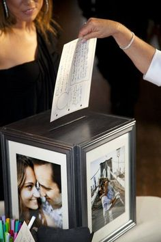 Put your gorgeous engagement portraits to good use with this easy multisided card box that lends itself well to any wedding style. #weddingideas