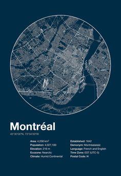 Street Map Art City Print Montreal Quebec by EncoreDesignStudios