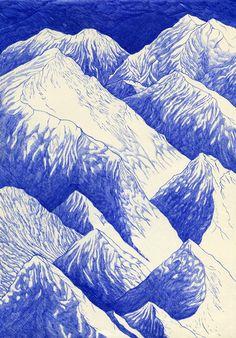 """kevinlucbert: """" Pics brumeux 21 x 29,7cm, ink on paper, Kevin Lucbert, 2014."""""""