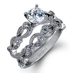 Simon G. 18K White Gold Vintage Style Scrollwork Engagement Ring Featuring 0.10 Carats Diamonds. · TR473 · Ben Garelick Jewelers