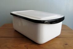 Black and White Enamel Refrigerator Box