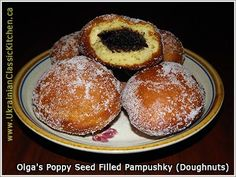 Ukrainian - Poppy Seed Filled Pampushky (Poppy Seed Filled Doughnuts)- my grandma used to make these...delicious!