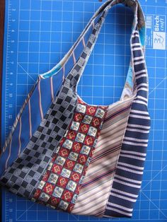 Sew & Serge a Neck Tie Hobo Bag - Free Tutorial - bag luggage, shop bags online, bag store online *ad