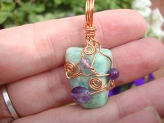 Wire Wrapped Amazonite with Amethyst style by MakeYourWorldSacred, $20.00 see it at A Moment of Zen 157 West Broadway in Salem, NJ 08079 www.amomentofzen.net www.facebook.com/amomentofzennj