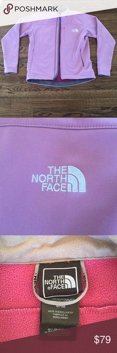 Size medium North Face winter jacket Size medium Northface winter jacket in pink. Shell is 96% polyester and 100% polyester lining. Lightly worn. The North Face Jackets & Coats