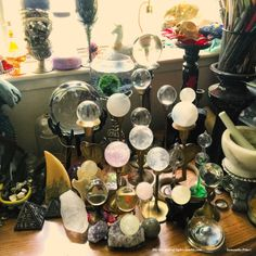 "Beautiful collection of crystal balls! ""This is my collection of Crystal balls, there is 20 so far. :) {Please don't remove my original caption}"" Crystal Magic, Crystal Grid, Crystal Ball, Crystal Altar, Crystal Shop, Wiccan, Magick, Witchcraft, Crystals And Gemstones"