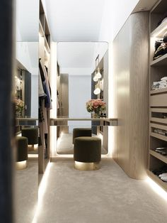 Walk-in wardrobe design inspiration, curved and illuminated joinery in a similar tone to floorboards on the ground floor House Design, Room Design, Interior, Home, Walk In Closet Design, Bedroom Design, Closet Designs, Closet Decor, Dressing Room Design