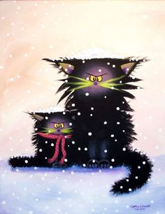 Cat art _ Cranky Snow Cats.  My kitties make pea-sized snowballs and throw them into their own faces, all gleeful and adorable.