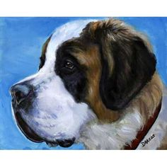 Saint Bernard Dog Art Print of Original Painting by DottieDracos, $12.00