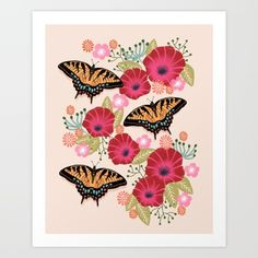 Swallowtail Florals by Andrea Lauren  Art Print