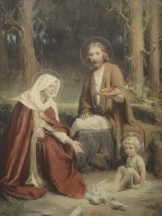 """""""THE HOLY FAMILY"""" Jesus, Mary & Joseph by C. Bosseron Chambers Edward Gross Co. VINTAGE This is the only frame I ever remember it in at my grandmas house so I think it is as old as the pri. Catholic Pictures, Jesus Pictures, Religious Images, Religious Art, Image Jesus, Jesus Mary And Joseph, Saint Joseph, Mama Mary, Sainte Marie"""