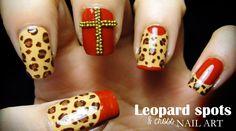 Leopard spots & cross nail art