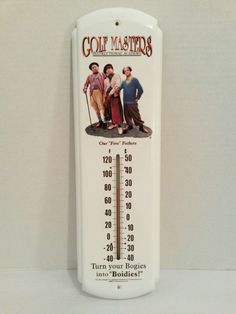 """The Three Stooges"" Golf Masters - Metal Thermometer - Fahrenheit & Celsius - Size 17"" tall#C3Entertainment"