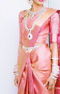 Want to check out best pink wedding saree designs? Here are sarees that you can take as inspirations. Bridal Sarees South Indian, Indian Bridal Outfits, Wedding Silk Saree, Indian Silk Sarees, Indian Bridal Fashion, Pink Saree Silk, Baby Pink Saree, Half Saree Designs, Silk Saree Blouse Designs