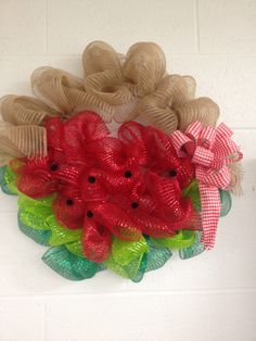 Watermelon picnic burlap and mesh wreath