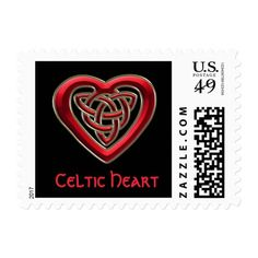 Red Celtic Heart Knot #Postage Stamp  #Celtic #heart #zazzle