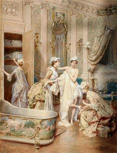 La sortie du bain (Ludovico Marchetti, 1853-1909)