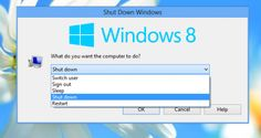 How to create a shortcut to the Shut Down Windows dialog in Windows 8, Windows 7 and Vista