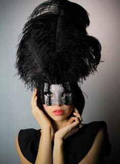 Crystal and Ostrich Plume large masquerade mardi gras mask,  Accessory, masquerade  mask  crystal  costume ball, Chic
