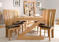 Available now from Oak Furniture House, Ex-Display Z Solid Oak Furniture Dining Table x Wooden Dining Set, Oak Dining Sets, Oak Dining Room, Furniture Dining Table, Dining Table Design, Dining Chairs, Patio Dining, Room Chairs, Dining Area