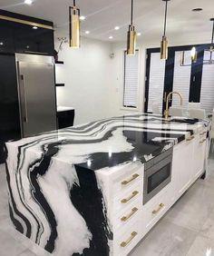 Luxury Kitchen Design, Kitchen Room Design, Home Room Design, Dream Home Design, Home Decor Kitchen, Modern House Design, Home Interior Design, Kitchen Interior, Modern Interior