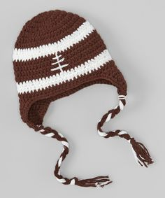 Brown & White Football Earflap Baby Beanie