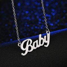 """European And American Popular brand letter Necklace """"Baby"""" Rose Short Paragraph Alloy Factory Direct - My best baby products list Gold Choker Necklace, Letter Necklace, Pendant Necklace, Necklace Types, Necklace Lengths, Baby Spice, Baby Letters, Baby Words, Necklace Extender"""