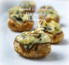 Mushrooms-Stuffed-with-Spinach-Artichoke-Dip