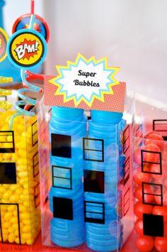 Superhero bubbles in Cityscape Candy Containers! Modern Superhero themed birthday party by Kara Allen | Kara's Party Ideas | KarasPartyIdeas.com-6