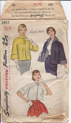 Vintage Misses' REVERSIBLE JACKET TOPPER Simplicity 1950