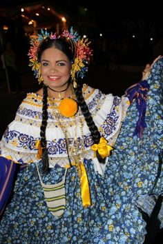 In The Festival of La Mejorana in Guarare, Los Santos. model: Carla Vega with montuna santeña #pollerapanameña