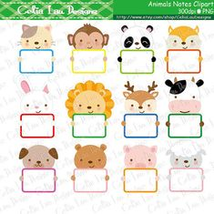 Animals Notes Clip Art Cute Animals holding by CeliaLauDesigns Safari Animals, Cute Animals, Art Sport, Spongebob Birthday Party, Smurfette, Monogram Frame, Windows Xp, Message Card, Cute Stickers