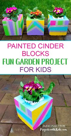 Painted Cinder Blocks Fun Garden Project for Kids Diy Garden Projects, Garden Crafts, Projects For Kids, Garden Art, Crafts For Kids, Garden Kids, Diy Crafts, Cinder Block Garden, Cinder Blocks
