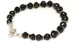 Attractive Black Spinel CZ Roundel Faceted Beaded Silver Charms Bracelet Jewelry